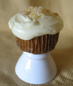 Carrot Cupcake with Cream Cheese Frosting and Candied Ginger